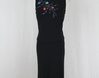 Vintage Adrianna Papell 1990's Beaded Viscose 2 pc Low Back Sleeveless Dress 4