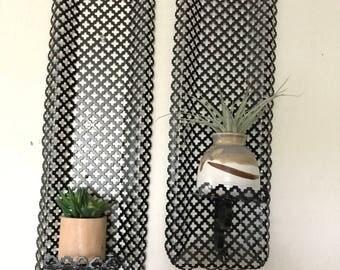 Set of 2 vintage metal candle holders- mid century