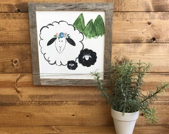 Hand painted mama sheep and lambs