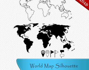 Vector world map etsy world map silhouette pins flags textbox clipart cut vector digital gumiabroncs Choice Image
