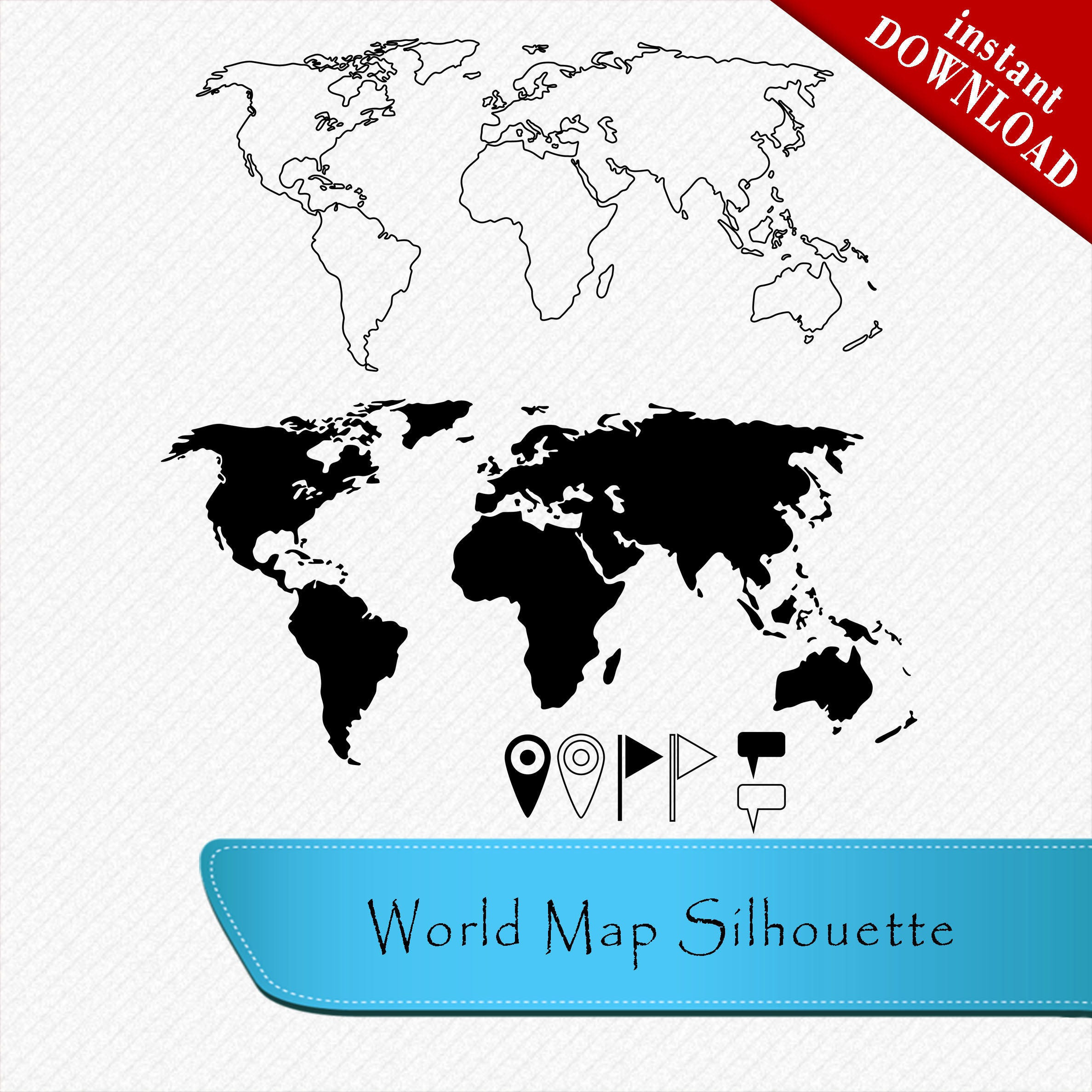 World map silhouette pins flags textbox clipart cut vector this is a digital file gumiabroncs Choice Image