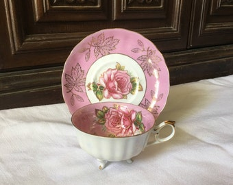 Royal Halsey Pink Rose Teacup and Saucer ~ Three Leg Teapot
