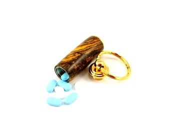 Secret Compartment Key Chain, Pill Holder Keychain, Pill Box Keyring Bocote Wood, Metal Pill Case, Pill Container