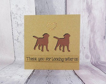 Two Labradors personalised custom birthday card, Yellow, Chocolate or black, Pet Sitting card, Thank you card, Spaniel, Pug, Terrier