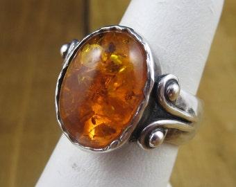 Vintage Israel Amber Ring Size 6.75
