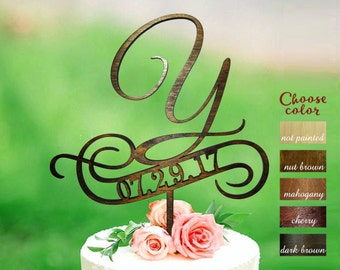 Letter y cake topper, cake toppers for wedding, date wedding cake topper wood, initial cake topper, cake topper y, Cake topper date, CT#159