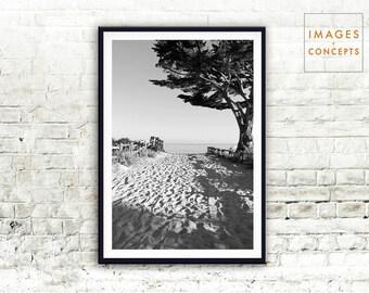 Black and White Beach Poster ~ Ocean Art Print ~ Coastal Home Decor ~ Digital Print ~ Printable Art ~ Instant Download ~ Beach Wall Art