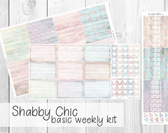BASIC WEEKLY KIT // Shabby Chick for Erin Condren Life Planner™, Classic Happy Planner