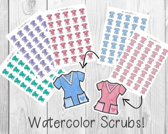 Hand-drawn Scrubs Planner Stickers, Watercolor, Planner Stickers by PaperPastelCo