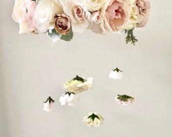 Flower Mobile, Nursery Mobile, Baby Girl Mobile, Princess Mobile, Floral Mobile, Pink Purple Mobile, flower chandelier