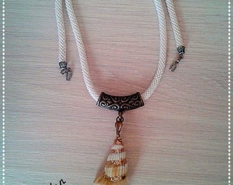 Clam shell pendant Plait of white beads Seashell suspension Gift to my daughter Nautical theme decor White Bead Decoration Gift to daughter