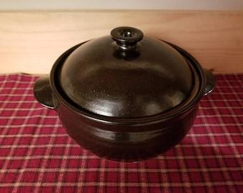 Black pottery casserole