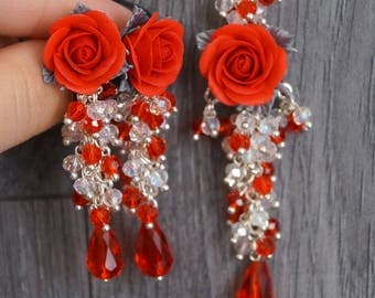 Set with red roses from polymer clay
