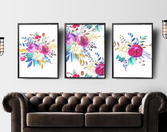 Charmant Watercolor Print Set Of 3, Floral Wall Art Set Of 3, Floral Prints Set