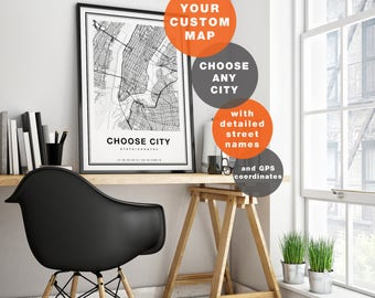Custom Map Print, Custom City Map Print, Personalized Map, Custom Map Art, City Map Art, Custom Map Poster, Any City, Choose City Map Art