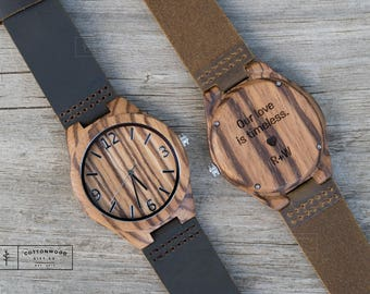 Mens Wood Watch, Engraved Mens Watch, Wooden Watch, Wood Watch Engraved, 5th Anniversary Gift, Personalized Wood Watch, Wood Watches for Men