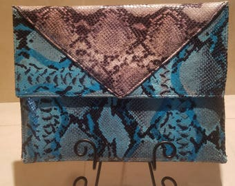 Double Tone Snake Skib Hand Crafted Clutch