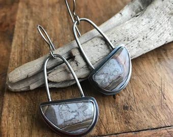 Crazy Lace Agate Arch Earrings