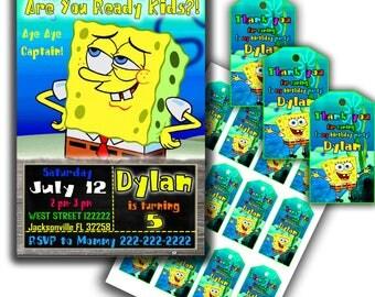 Spongebob invitation Spongebob birthday Spongebob party Spongebob thank you tags Spongebob printable Spongebob birthday kit