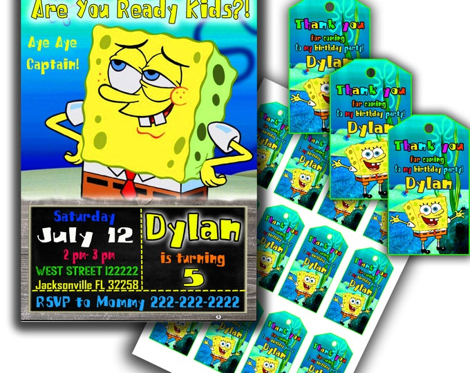 Spongebob invitation Spongebob birthday Spongebob party Spongebob thank you tags Spongebob printable Spongebob birthday kit
