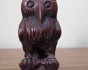 Vintage Wooden owl carved China mid century 70s