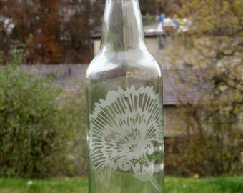 Glass Bottle - Water Bottle - Zero Waste - Reusable - Etched Glass Bottle - Glass Water Bottle - Christmas Gift For Her- Etched Water Bottle