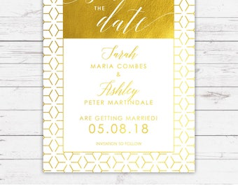 Foil Save the Date Cards - Linea design, personalised and customisable