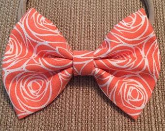 Orange and White Rose Bow