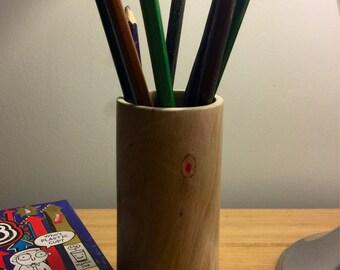 Wood Turned Ash Pencil Pot
