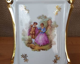 Vintage Bardet Limoges Porcelain Frame With Fragonard Transferware Artwork