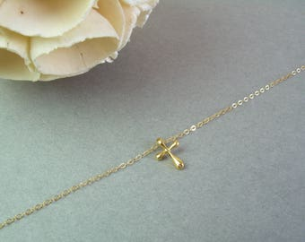 Dainty Gold Cross Necklace / Gold Cross Necklace / Delicate Gold Cross Necklace / Gold Dainty Necklace / Valentine's Day Gift For Her AD013