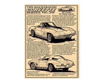 1967 C2  Corvette Production Car Art Print,1967 Sting Ray Corvette,1967 Corvette,67 Corvette Production,67 Corvette Art
