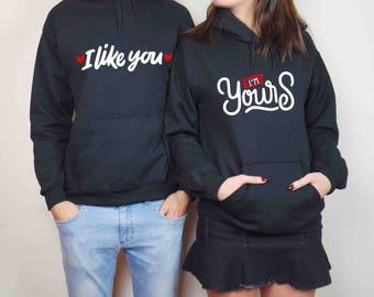 couples sweatshirt etsy fr. Black Bedroom Furniture Sets. Home Design Ideas