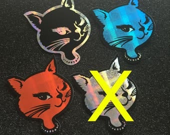 Vintage 90s Deadstock Winking Cat Vending Machine Sticker Prismatic 1990s New Old Stock Big enough to be Bumper Sticker Kitty U Choose Color