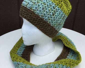 Crochet Beanie Hat and Infinity Scarf, Multicolored Scarf and Hat Set,Striped Crochet Beanie Hat,Crochet Infinity Scarf,Crochet Striped Cowl