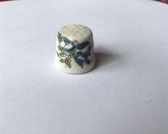 Bird and flowers thimble
