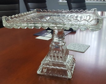 Adams Crystal Square Wedding cake stand EAPG 1890's