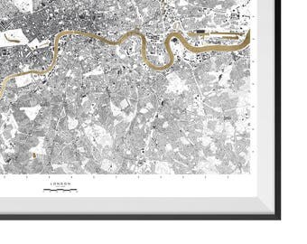 24 Carat Maps - EXTRA LARGE London Edition | Limited Edition Print | Contemporary Maps | Real 24 Carat Gold Leaf