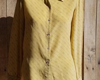 1970s Designer Iconic GG Pattern Gucci Shirt, G.Gucci Gold Silk Blouse, Golden Designer Buttondown Shirt, Made in Italy