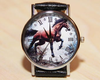 Horse watches, mustang watches, men's watches, brown watches, leather watches, business watches, watch every day, classic watch, black watch