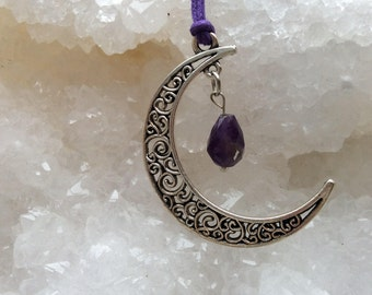Moon pendant with amethyst