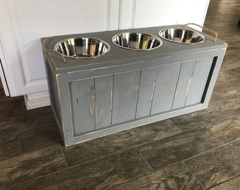 Raised Triple Dog Bowl Stand with Storage Three Dog Bowls with Storage Dog Food Stand Dog Feeder with Storage Rustic Triple Dog Bowl Stand