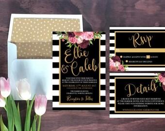 Printable Floral Wedding Invitation Stripes // Wedding Invitations // Striped Wedding Invitation //Digital Wedding Stationery // Rustic