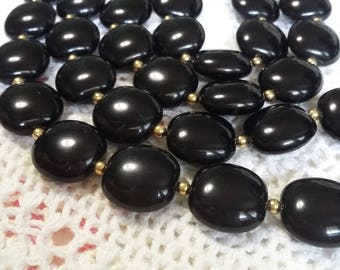 Vintage Black plastic bead necklace 28 inches long