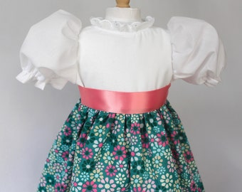 "Doll Dress for 18"" doll, pink & teal print with ribbon tie"