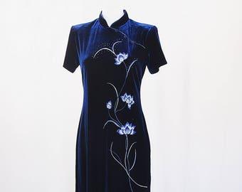 Navy Blue Velvet Vintage Japanese Dress Floral