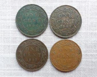 Canadian Coins ~ Canada Coins ~ 4 Coins: 1904, 1905, 1907 & 1910, 1 Cent (Large Cent) ~ King Edward VII~ Bronze ~ ca02
