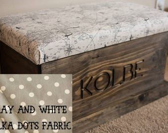 Personalized Hope Chest, Engraved Upholstered, Gray and White Polka Dot Fabric, Entry Way Chest, Toy Chest
