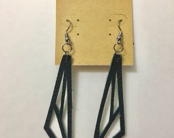 Leather geometrical earrings black