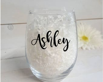 Wine glass. Quoted 15oz Stemless wine glass- Personalized Wine Glasses- Bridemaid Gifts- Bridal Party Gifts- Gifts for her- Wedding favors